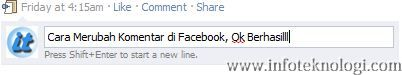 Tutorial mengedit komentar di Facebook