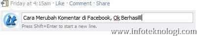 Tutorial mengedit komentar di Facebook