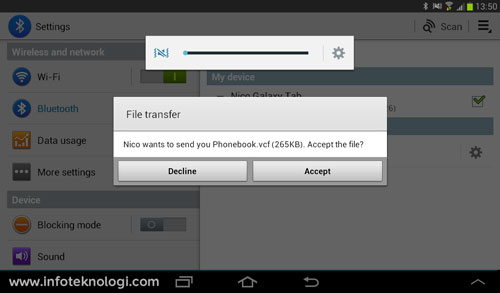 Android bluetooth file transfer phonebook.vcf