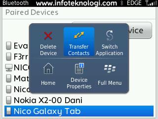 Mindahin contact Blackberry