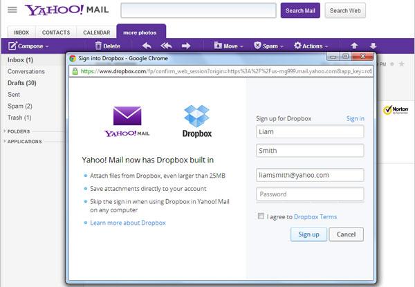 integrasi dropbox di yahoo mail