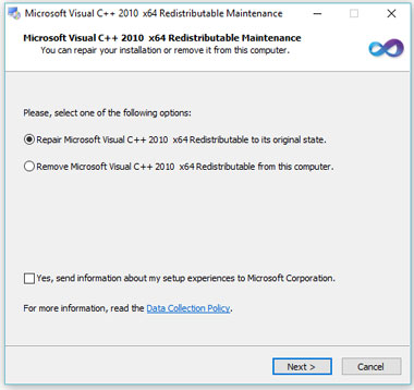 Memperbaiki error msvcr100 dll dan msvcp100 dll di Windows 10