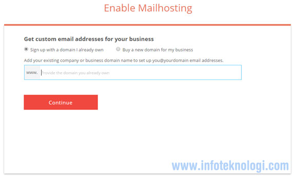 enable mailhosting di zoho