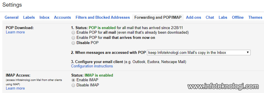 setting gmail pop smtp